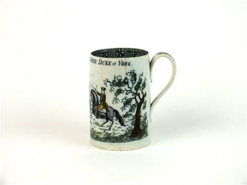 Lot 42-A rare Staffordshire Frederick Duke of York mug