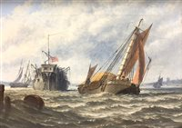 Lot 49-Stuart H Bell, Prison hulk and other shipping along the coast
