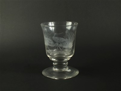Lot 109 - A Cumbria Crystal goblet engraved with Godwits