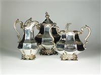 Lot 58-A Victorian three piece silver tea service
