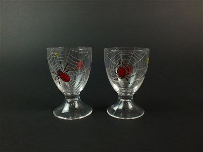 Lot 108 - A pair of Stuart enamelled 'Spider' cocktail glasses
