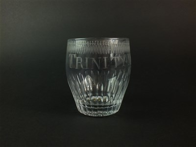 Lot 99 - A barrel-shaped tumbler engraved 'Trinity Monday, 1813'