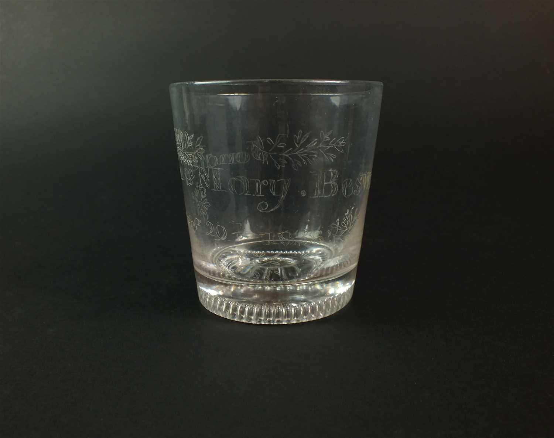 Lot 100-A commemorative glass tumbler