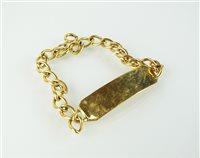 Lot 145-A 9ct gold curb link identity bracelet