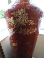 Lot 303-Pair of large Chinese red lacquer temple vases