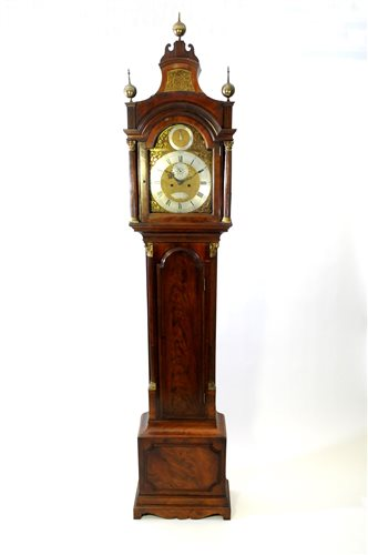 467 - Late George III mahogany long case clock