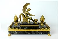 Lot 178-19th century Empire ormolu and bronze antico encrier
