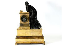Lot 201-A French bronze ormolu mounted and Sienna marble mantel clock