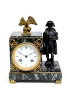 Lot 203-A French bronze and ormolu mounted variegated marble mantel clock