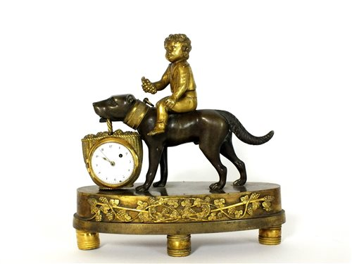 483 - A French ormolu and bronze novelty mantel time piece
