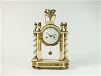 Lot 195-A French Louis XVI marble and ormolu portico clock