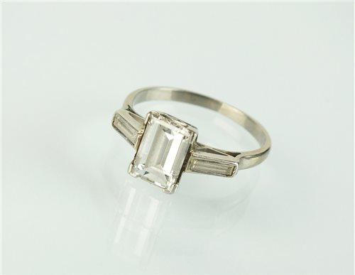 139 - A rectangular cut diamond ring