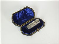 Lot 104-A cased silver mounted scent bottle
