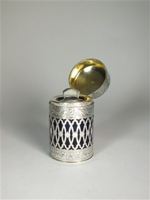 Lot 66-A silver mounted blue glass dressing table jar