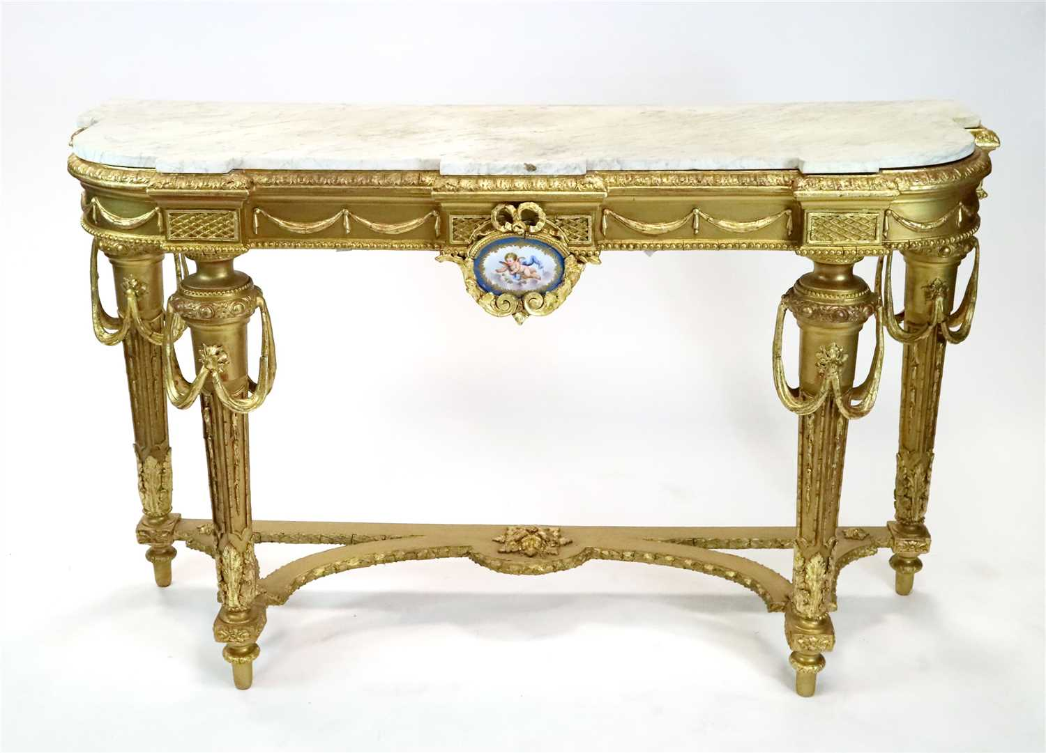 Lot 220-A decorative 19th century gilt carved wood and moulded plaster marble-topped console table