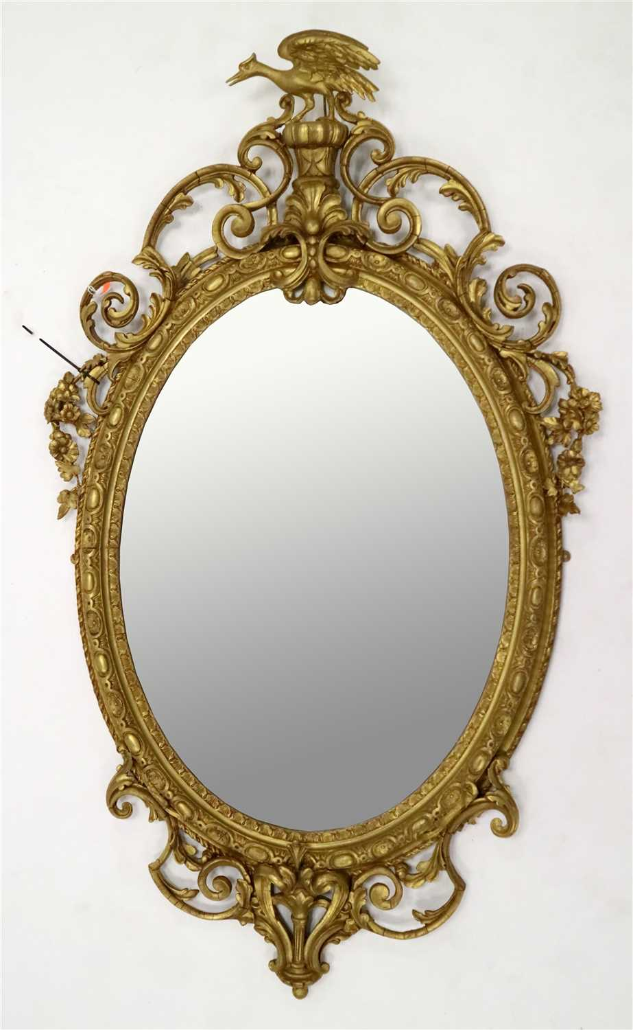 Lot 231-A large 19th century gilt plaster wall mirror in the  Chinese Chippendale manner