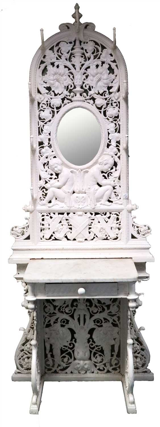 237 - Attributed to Coalbrookdale, an impressive two-sectional cast iron hall stand