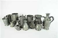 Lot 752-A collection of pewter drinking vessels and measures