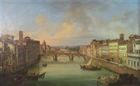 Lot 128-Giovanni Signorini, Ponte Vecchio, oil on canvas