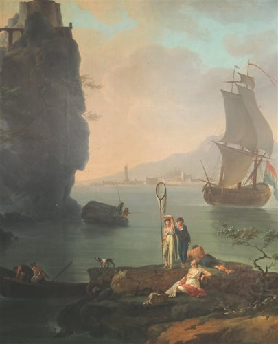 Lot 101-Circle of Claude Joseph Vernet, oil on canvas