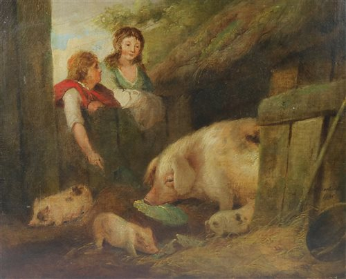 Lot 113-Att to George Morland, oil on canvas