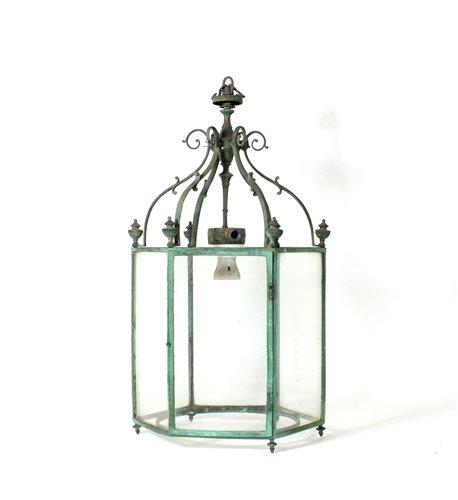 400 - A hexagonal metal hanging hall lantern