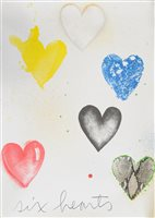 Lot 119-Jim Dine, Six hearts