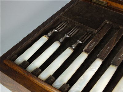 Lot 97-A cased set of silver fruit knives and forks