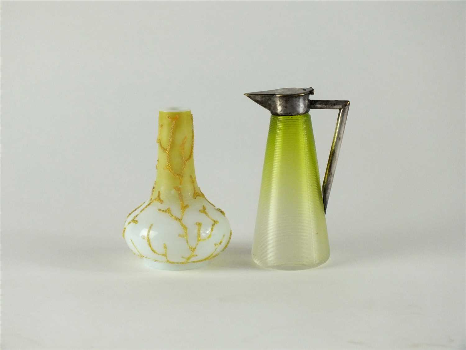 Lot 122 - A Thomas Webb Coralene vase and Hukin and Heath jug