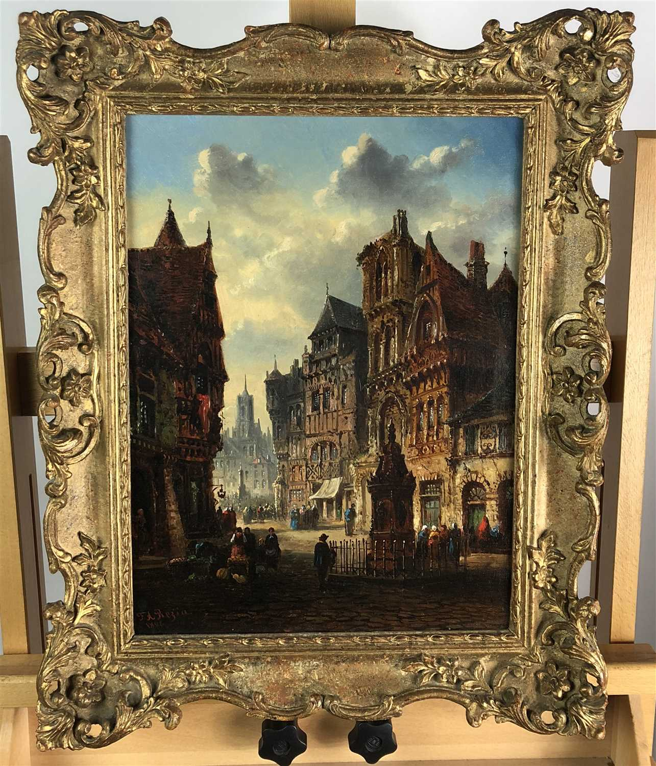 Lot 74-Felice Auguste Rezia, oil on canvas, a continental street scene with figures