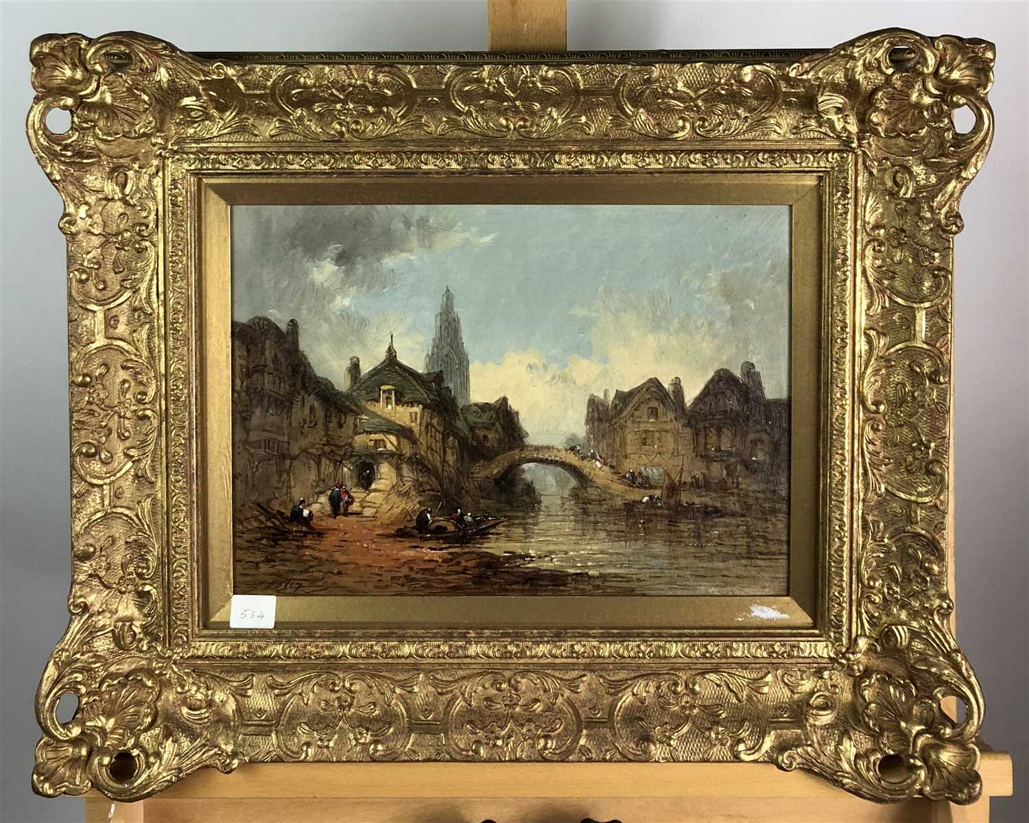 Lot 75-Attributed to Felice Auguste Rezia, A continental town scene with river