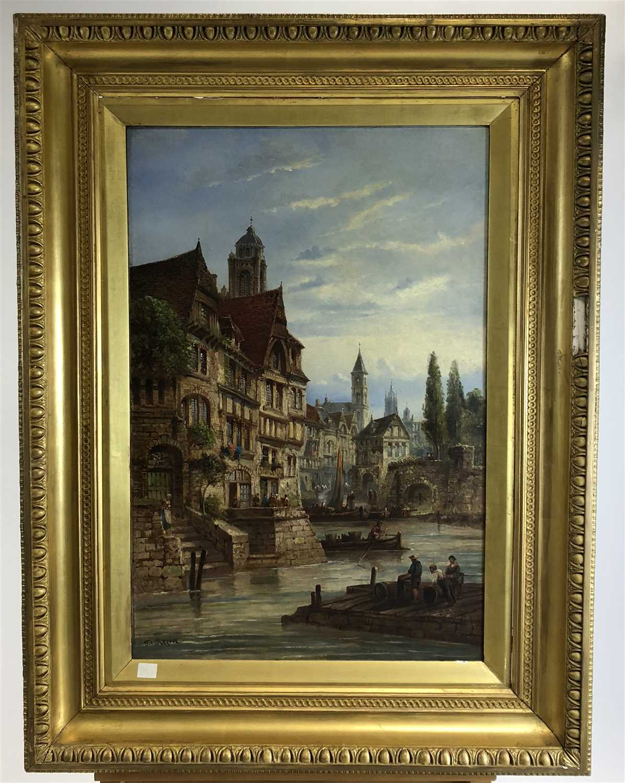 Lot 78-Felice Auguste Rezia, oil on canvas, 'Rouen', a town scene