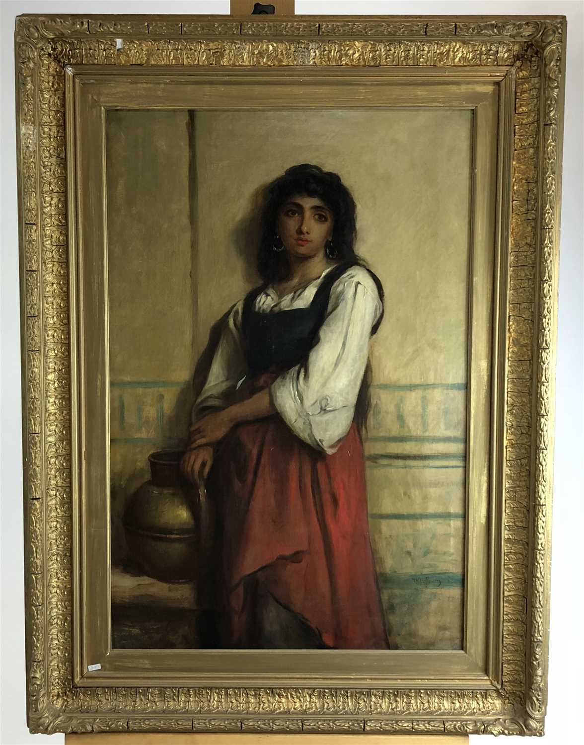 Lot 76-Thomas Kent Pelham, oil on canvas, A young water carrier