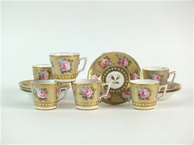 Lot 62 - A set of six Stevenson and Hancock, Derby coffee cups and saucers