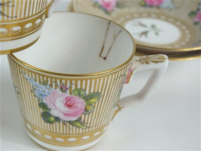 Lot 62-A set of six Stevenson and Hancock, Derby coffee cups and saucers