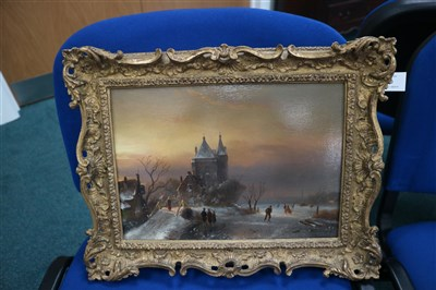 Lot 110-Dutch frozen river scene (19th Century)