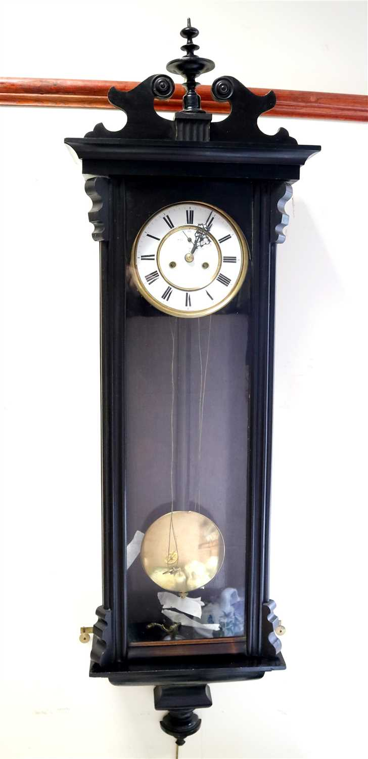 Lot 704-An Edwardian Vienna Regulator wall clock