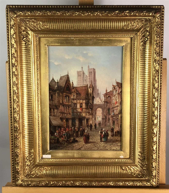Lot 81-A continental street scene, oil on canvas, 19th century, gilt framed