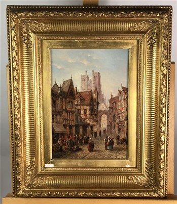 Lot 81-A continental street scene, oil on canvas, 19th century, gilt framed