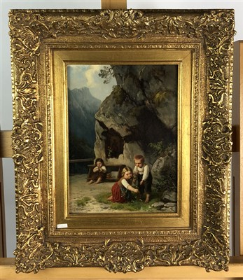 Lot 86-Ludwig Neustatter, children at play by wayside, oil on panel