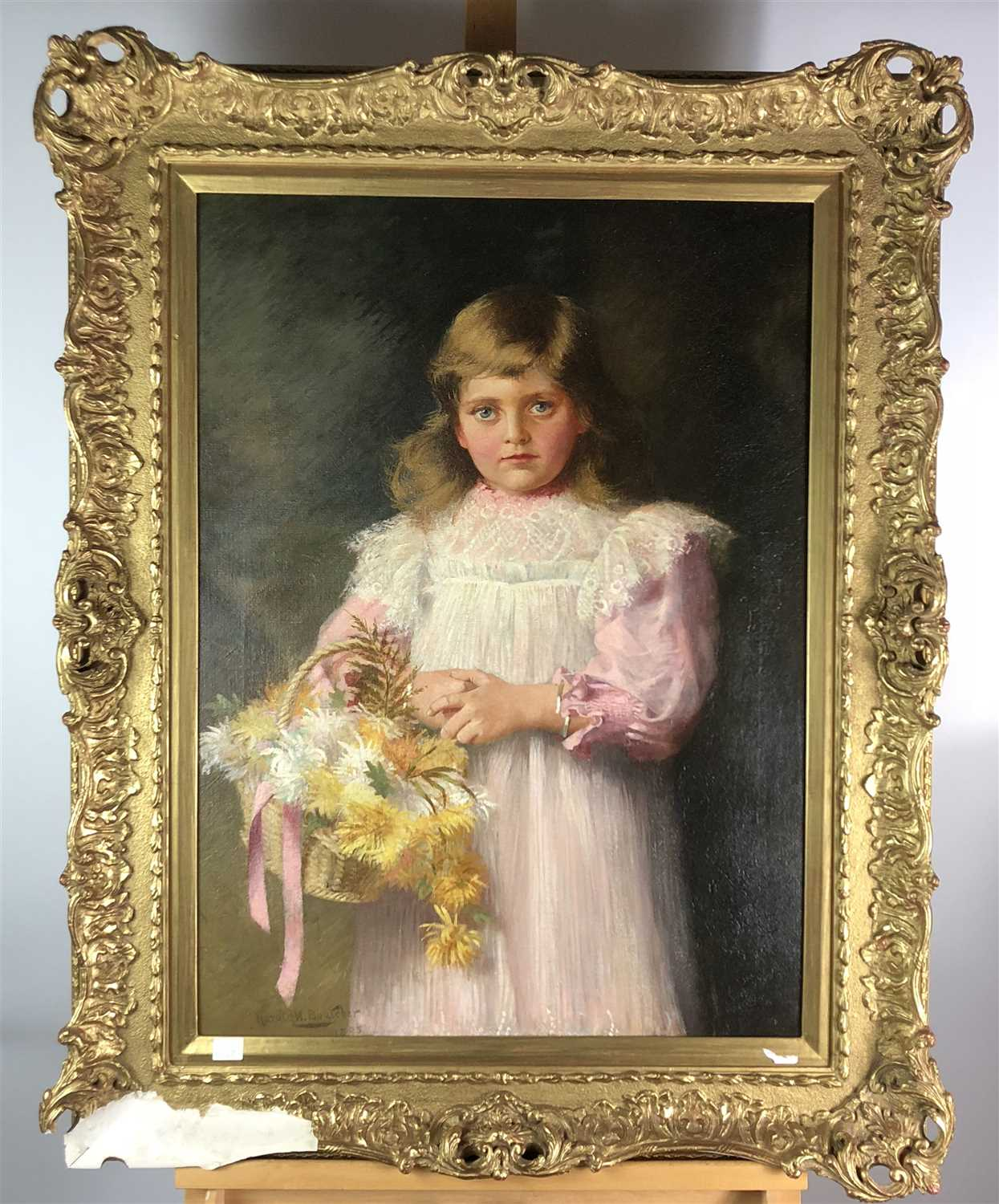 Lot 87-Harold W. Boucher, a young girl with a basket of chrysanthemums