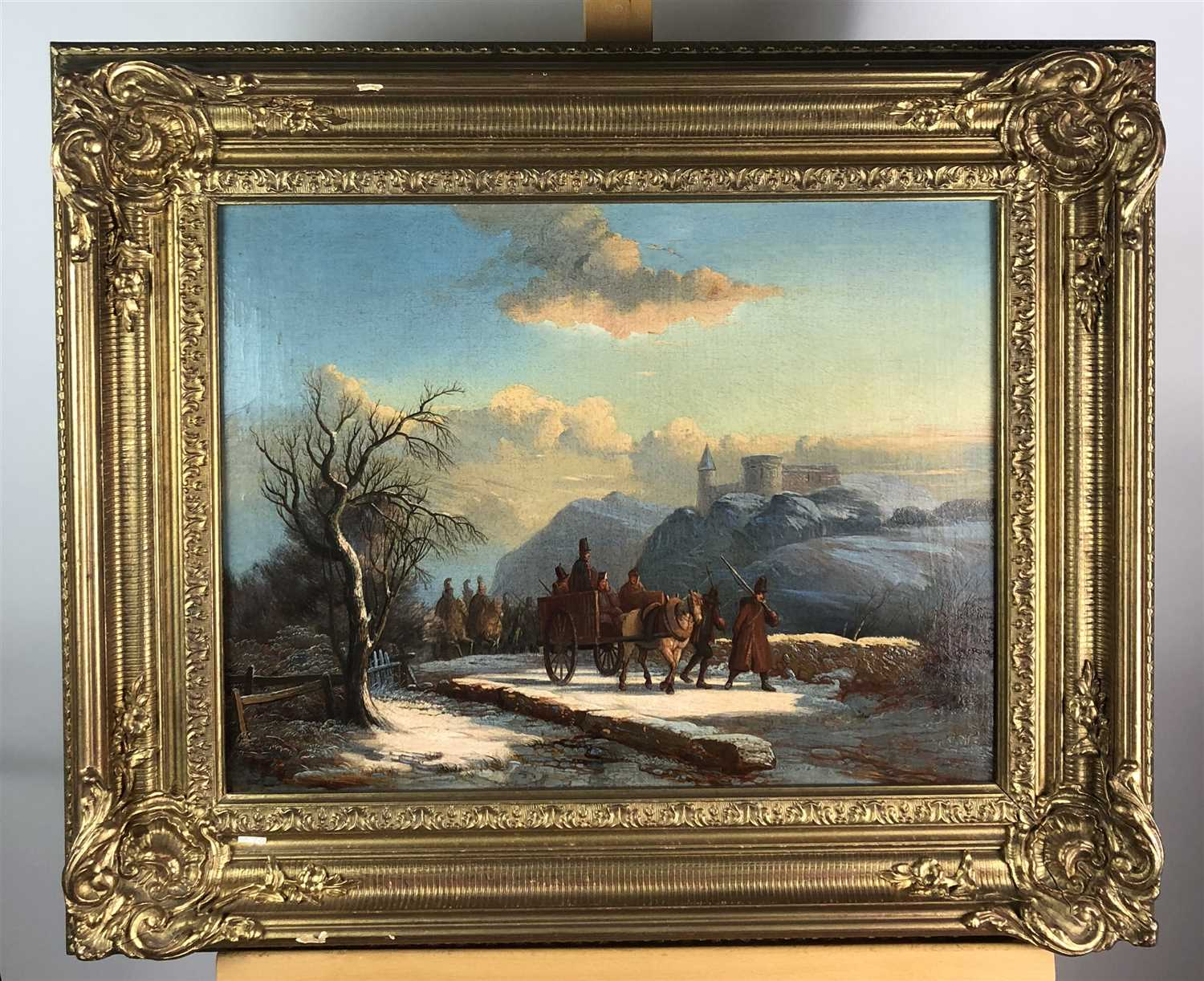 Lot 88-A continental oil study of soldiers marching before a distant castle