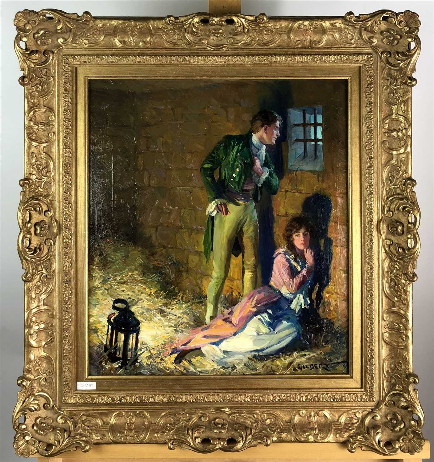 Lot 90-Study of a courting couple in a stable, 19th century oil in pierced gilt frame, signed Gilbert