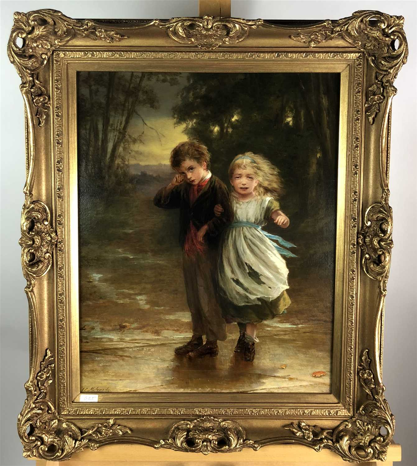Lot 94-Augustus Edwin Mulready 'Strayed' - an oil study of two lost children