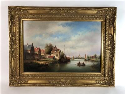 Lot 92-Feyern, 20th century Dutch School, river scene