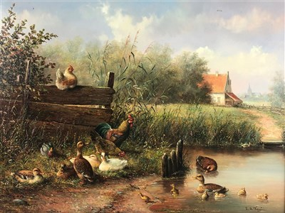 Lot 105-Dutch School, wild fowl by a river