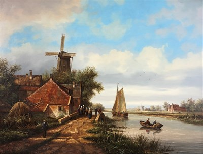Lot 107-De Vries, windmill canal scene