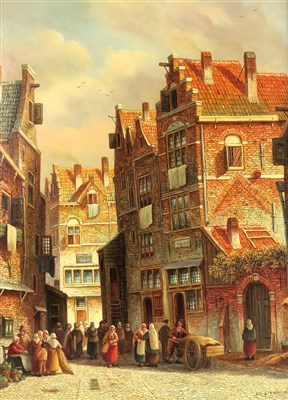 Lot 108-Steenhouwer, Dutch street scene