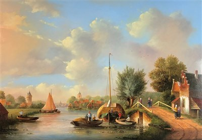Lot 106-Herkelman, Summer canal scene