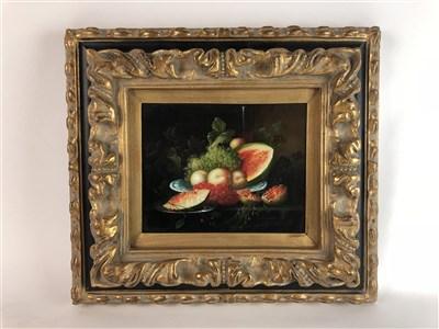 Lot 42-Pair of fruit still life in heavy frames
